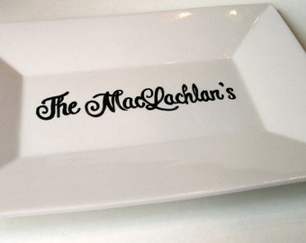 Custom Made Name Platter great for weddings or anniversary black and white whimsy style