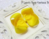 Custom YELLOW Hair Bow, small, medium, large, extra large, Choose your Style, boutique, pinwheel, tails down, classic