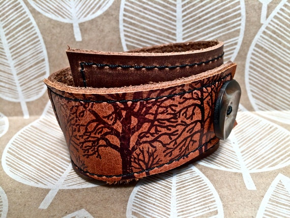 Leather Cuff Bracelet Wrap, Tree Silhouette Print in Brown & Sienna, Adjustable Size
