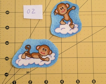 Set of 2 cotton fabric appliqués - Monkeys on Clouds Set 02