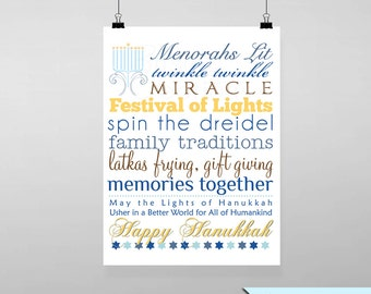 Hanukkah Subway Printable Wall Art by BitsyCreations