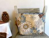 Blue Floral Tote Bag / Lined Summer Tote / Medium Shopping Bag