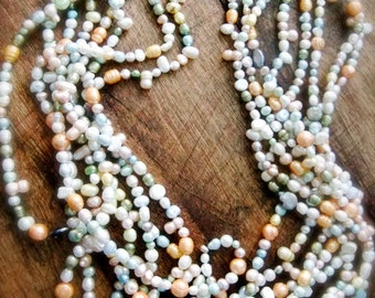 Daisy's Wedding LUXE - Pastel Pearls - Cultured - Coin - Multi Strand - OOAK - Statement Necklace - catROCKS - daffodil - champagne - pastel