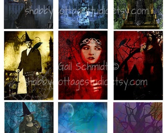 Witches Digital Collage Sheet Instant Download Printable Halloween ATC ACEO Backgrounds Tags Scrapbooking Altered Art Cardmaking
