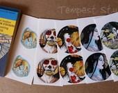 Geisha Sticker Matchbook Day of the Dead Koi Pond Kodama