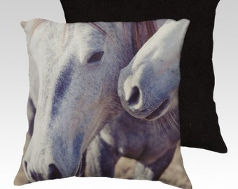 photography pillow cover, decorative throw pillow , home decor, animal decor, horse pillow, Horse Kisses