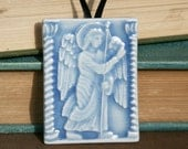 Cloisters Annunciation Angel - holiday ornament in Azure Blue