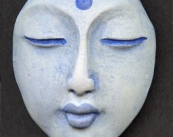 Polymer OOAK Buddha Face  Cab  Pale Blue BLBD 1