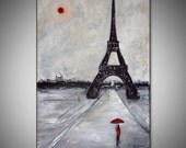 Black and White Art EIFFEL TOWER Original Painting PARIS France - Modern Art by BenWill - 36x24