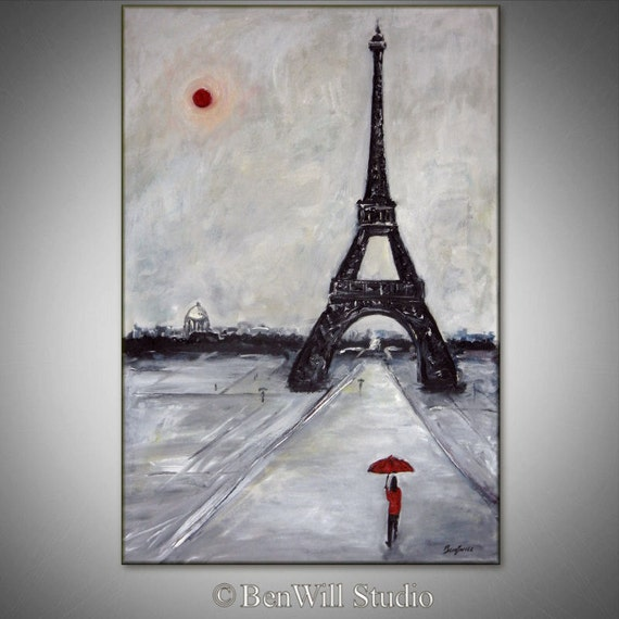 Black and White Art EIFFEL TOWER Original Painting PARIS France - Modern Art by BenWill - 36x24