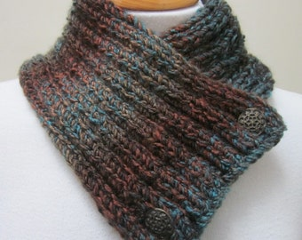 Brown Blue Chunky Knit Button Scarflette