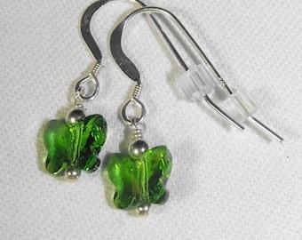 Fern Green Swarovski Butterfly Earrings & Sterling Silver Ear Wires
