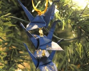 Blue Origami Crane Trio Christmas Tree Ornament -- Gold Japanese Believe Kanji Holiday Decoration
