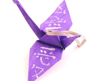 Love Kanji Silver on Purple Origami Crane Ornament, Handpainted Home Decor