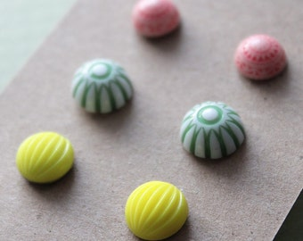 Post Earrings - 3 pairs - Vintage Plastic and Glass - Surgical Steel - Pink, Green, Yellow Mix