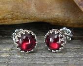 Garnet Earrings - Stud Earrings - Sterling Silver Posts