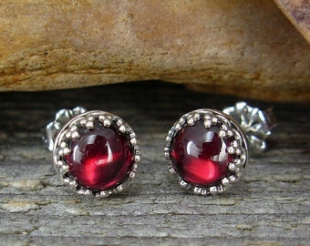 Garnet Earrings - Stud Earrings - Sterling Silver Posts