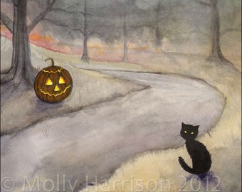 The Forgotten Path - Halloween Art - Black Cat and Jack-o-Lantern - Watercolor Giclee Print 8 x 10