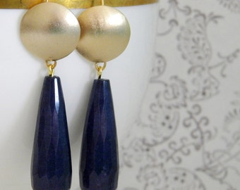 Brushed Gold Blue Jade Teardrop Earrings