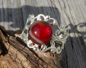 Sweetheart Red and Silver Filigree Ring