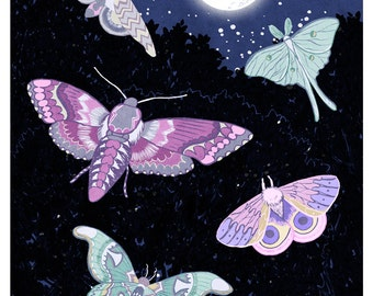 Moon Moths - 9x12 print - night stars full moon art