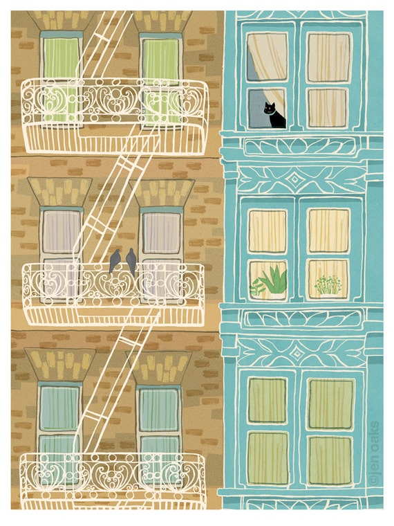 Fire Escapes - 9x12 print - urban brownstone victorian black cat