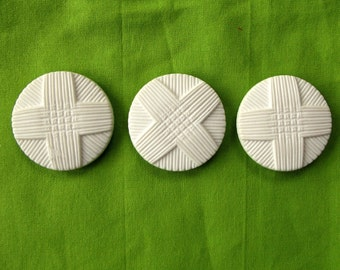 Vintage Buttons - Giant White Plastic Moulded Buttons- set of 3