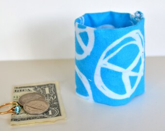 "Money Cuff -""Secret Stash"" for KIDS! ....Blue Peace-  hide your cash,key,health info  in a secret zipper"