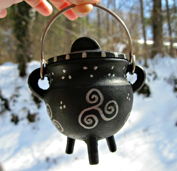 Handpainted Silver Triskele and Spiral Cast Iron Mini Cauldron