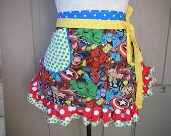 Aprons - Womens Superman  Aprons - X-Men Aprons - Super Heros Apron -- Superman Hero Apron - Annies Attic Aprons