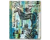 Horse Screenprint Cool Springtime Green Painting