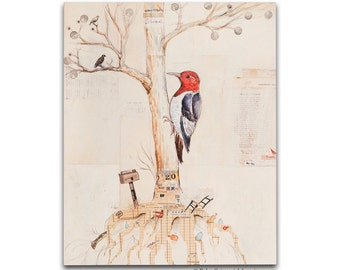 Woodpecker and the Tree Wood Print