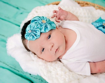 Boutique ...teal satin HEADBAND--- new baby