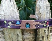 Distressed Purple Dog Collar with Owl's in Tree