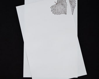 Skeleton Leaf, hand stamped stationery set, letter writing set, hand written letters, 30 pieces, lined or unlined, social stationery