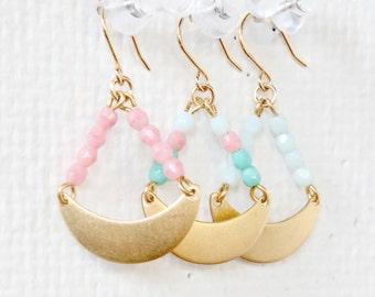 Golden Crescent Chandelier Earrings