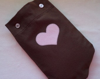 Chocolate Brown Flannel Hot Water Bottle Cover with Pink Heart Applique or Plain