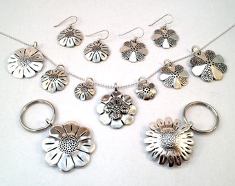 Daisy & Flower Pendants, Keyrings or Earrings Made from Vintage US Coins