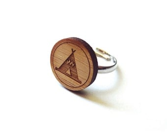 Teepee Tent Ring. Tent Ring. Camping Ring. Wood Ring. Gifts Under 25. Gift for Her. Tent Jewelry. Friend Gift. Girlfriend Gift. Laser Cut.