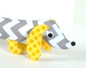 Yellow and Gray Wiener Dog Stuffed Animal Plush Dachshund Toy for Kids and Baby ALFIE