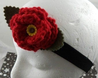 Amy Pond - Crocheted Rose Headband - Red with Sunflower Embellishment on Black Headband (SWG-HH-DWAP01)