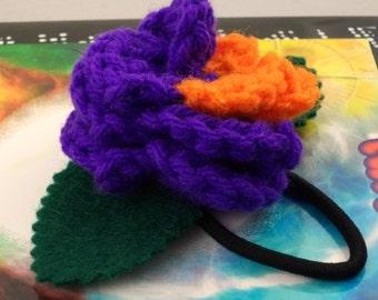 Crocheted Rose Ponytail Holder or Bracelet - Villain (SWG-HP-VIJK01)