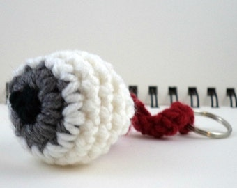 Gray Crocheted Eyeball Key Ring