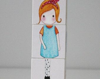 Paper Doll Girly Matilda Wooden Blocks Set of 3