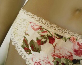 Bridal Panties Handmade Cotton Old Fashioned Rose And Love Letter Script Nostalgic Romantic Wedding Lingerie MADE TO ORDER