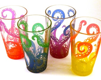Embracing Tentacles 16oz Pint Glasses - Set of 4 - Etched and Painted Glassware - Ready to Ship