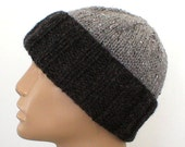 Men's knit watch cap, charcoal pewter grey, slouchy hat, brimmed beanie, color block hat, striped hat, grey hat, toque, ski snowboard hat