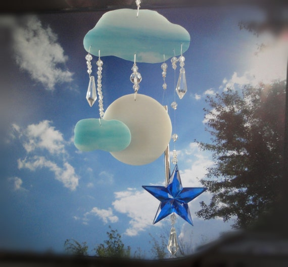 Full Moon, Glass Sculpture, Home Decor, Stained Glass Windchime, Mobile, Window Hanging