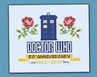Doctor Who - 50th Anniversary parody - Cross stitch PDF pattern