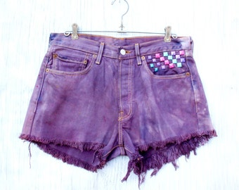 Bright Orchid Purple High Waist Levi Shorts - Revamped Vintage w/ Pastel Rainbow Pyramid Studding, Tie Dye Back Pocket Patch - Size 6 / 8